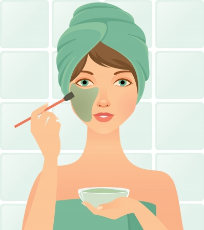 woman deals an the face mask cosmetic Stock Vector - 14238436