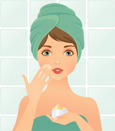girl takes care of the skin Illustration