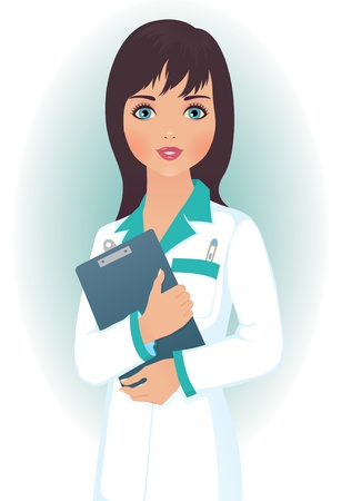 a physician: woman doctor in a medical gown Illustration