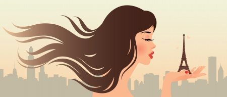 Beautiful girl on the background of the urban landscape Illustration