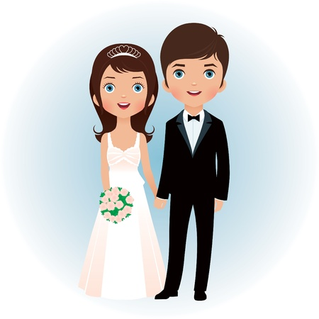Bride and groom holding hands Vector