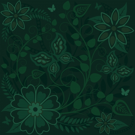Green fantasy background with flowers Vector