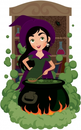 witch cooks potion celebrity for Halloween Vector