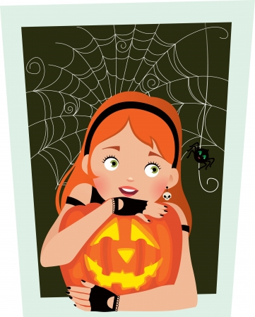 black hair girl: Girl with pumpkin Halloween frightened by a spider