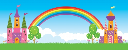 children s: Children s fairy kingdom, vector illustration