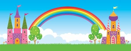 Children s fairy kingdom, vector illustration