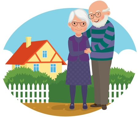 old wife: old man and his wife standing near her house Illustration
