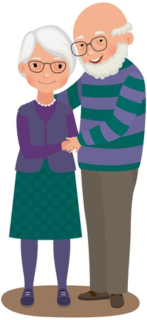 Elderly a married couple in love Illustration