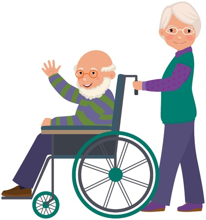 wheelchair man: An elderly woman with her husband in a wheelchair