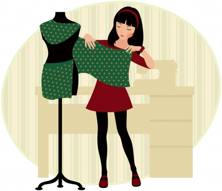girl drapes a seamstress mannequin Vector
