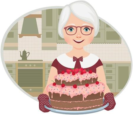 abuela: Abuela en la cocina de su casa sosteniendo una bandeja con un pastel
