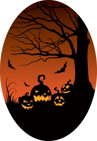Pumpkins under the old tree on Halloween night