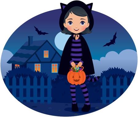 Vector illustratie, meisje in kostuum een Halloween kat Stockfoto - 15065139