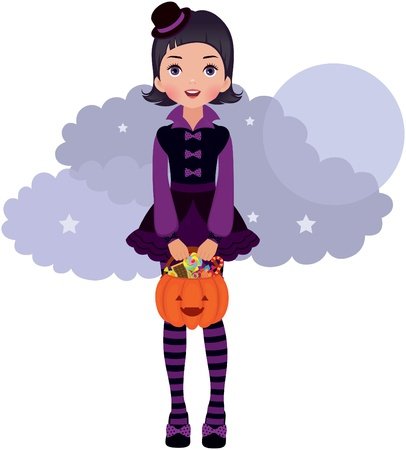 Gothic Lolita girl in Halloween Vector