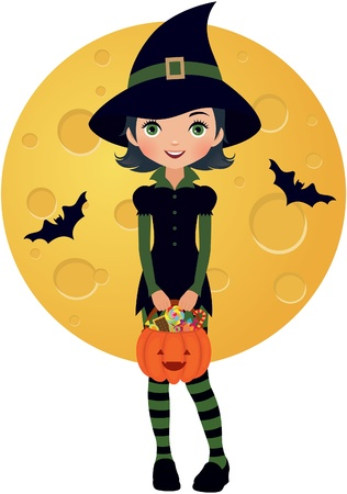 girl dressed as a witch in Halloween Stock Vector - 15065150