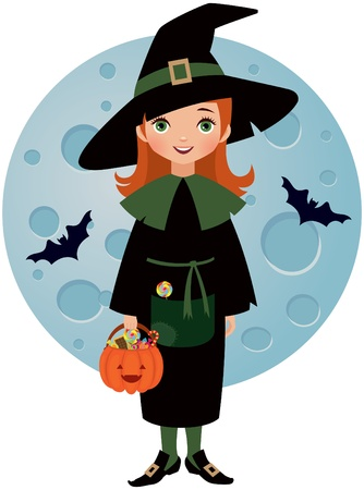 dressing up party: Witch Halloween on background of the moon