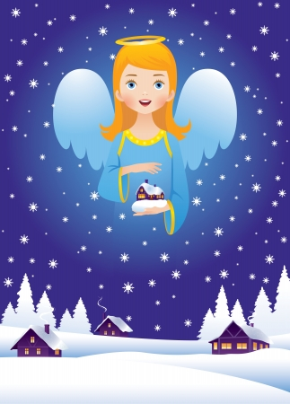 Christmas Eve and the angel in the sky Vector
