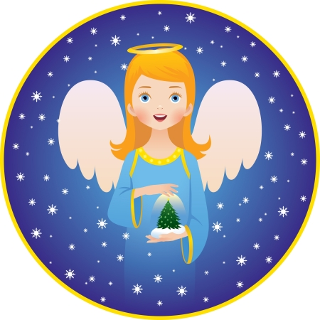 angel girl: illustration of the  Angel of Christmas