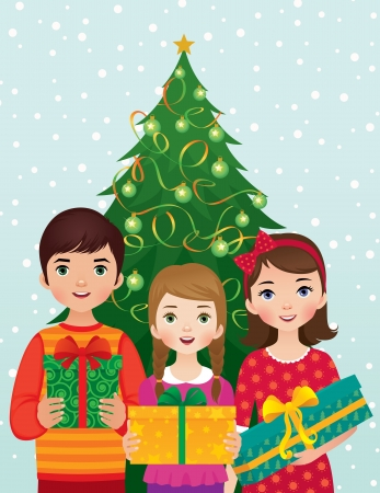 Children receive gifts on Christmas Vector