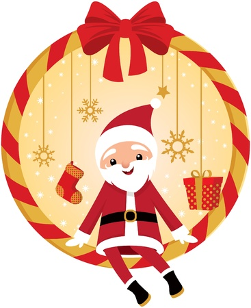 Cute Santa and Christmas wreath Stock Vector - 15952379