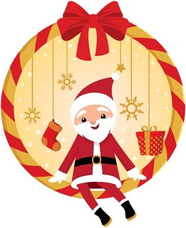 Cute Santa and Christmas wreath Stock Vector - 15952379
