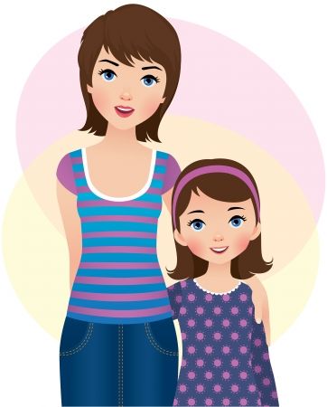parent and teenager: illustration  a mother and daughter Illustration