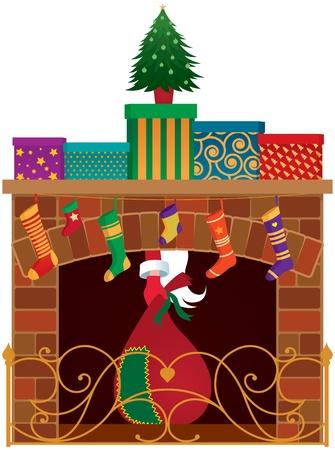 Kerst open haard, cadeaus en Santa Claus Vector Illustratie