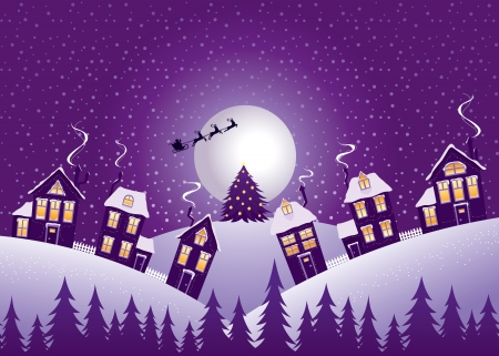 suburb: Christmas night, illustration in violet range