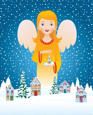 people in church: illustration of a Christmas angel