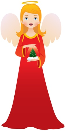 Christmas angel in red dress  Vector