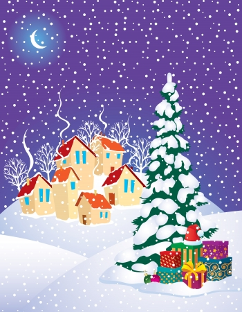 The village on the eve of Christmas Vector