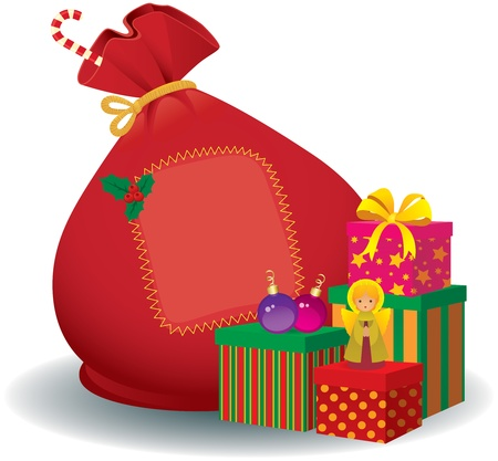 Vector illustration of a Christmas sack with presents