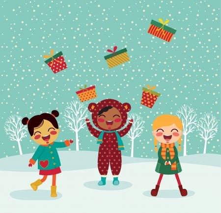 rejoicing: Illustrazione vettoriale di regali per Natale Vettoriali