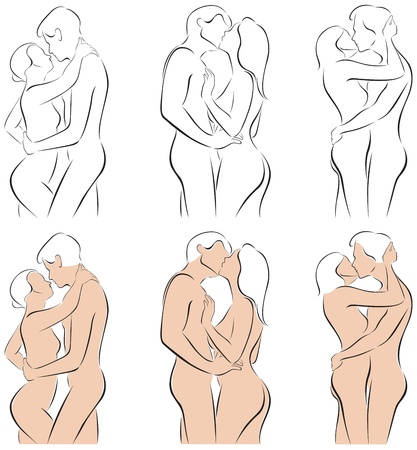 illustration of stylized silhouettes of men and women hugging