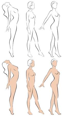 illustration of stylized figures standing women Stock Vector - 17231015