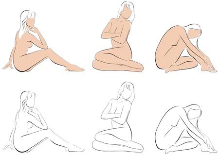 mujer desnuda sentada: estilizada figura de una mujer sentada