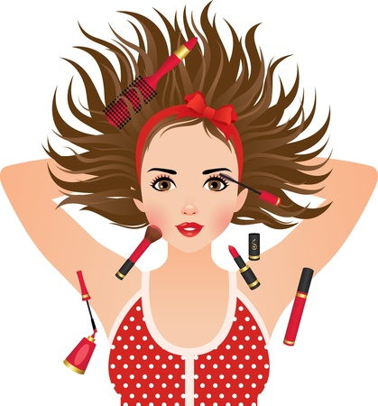 illustration of a face of the girl, and cosmetics Vector