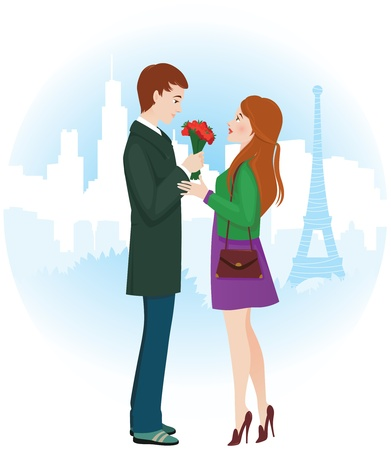Vector illustration of Lovers in Paris Stock Vector - 17569044