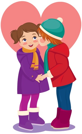 Vector illustration of a boy kissing his girlfriend Vector