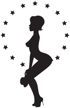 illustration of a silhouette of girl strippers Stock Vector - 17818994