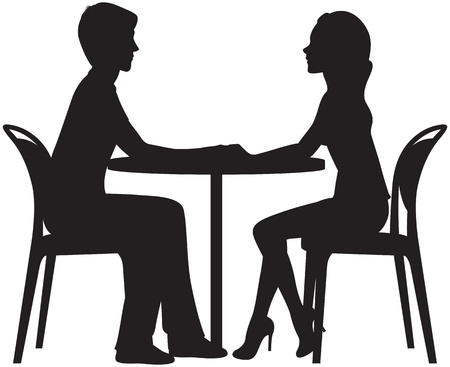 silhouette of couple in love on a date in the cafe
