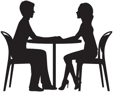 silueta de la pareja de enamorados en una cita en el café