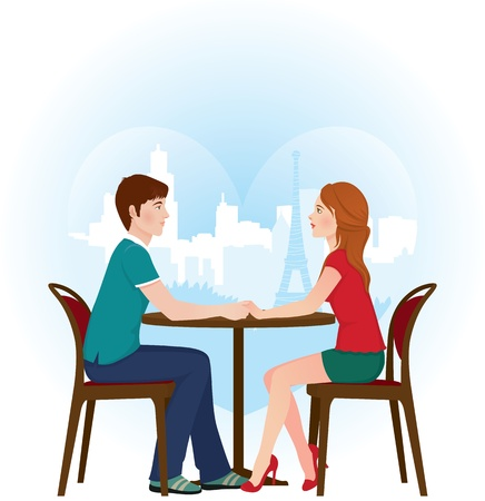 illustration of lovers on a date in a Paris cafe Vector