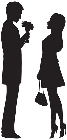 illustration of a silhouette of lovers on a date Vector