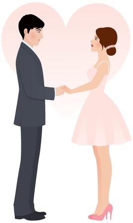 solemn: ilustraci�n novia y del novio tomados de la mano Vectores
