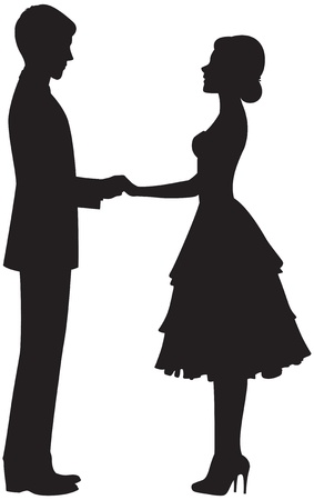 solemn: Silhouette of a couple holding hands
