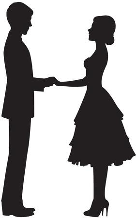 siluetas de enamorados: Silueta de una pareja cogidos de la mano