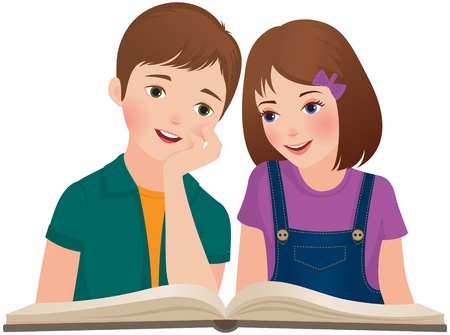 Illustration a boy and a girl reading a book Illustration