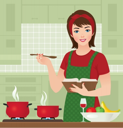 illustration of housewife in the kitchen cooking deals
