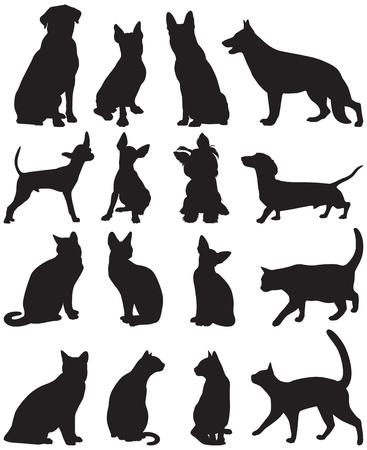 siamese: Vector Reihe von Silhouetten von Katzen und Hunden Illustration
